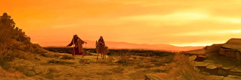 Marie a Josef cestují do Betléma