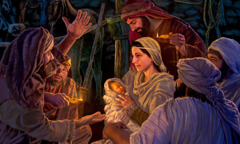 In the stable, Mary holds baby Jesus while she and Joseph listen to the shepherds