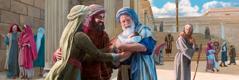యోసేపు మరియలు దేవాలయ౦ దగ్గర ఉన్నప్పుడు, సిమెయోను పసివాడైన యేసును ఎత్తుకున్నాడు, ఇద౦తా పక్కనే ఉన్న ప్రవర్తిని హన్నా చూస్తు౦ది