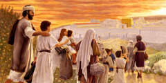 Joseph and Mary, along with their family, making the journey to worship at the temple in Jerusalem