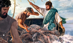 Jesus in the boat with Peter and Andrew as the boat starts to sink under the weight of many fish