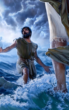 Peter, walking on water toward Jesus, gets distracted with fear and doubt and starts to sink