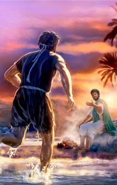 Peter at the shore running to meet Jesus