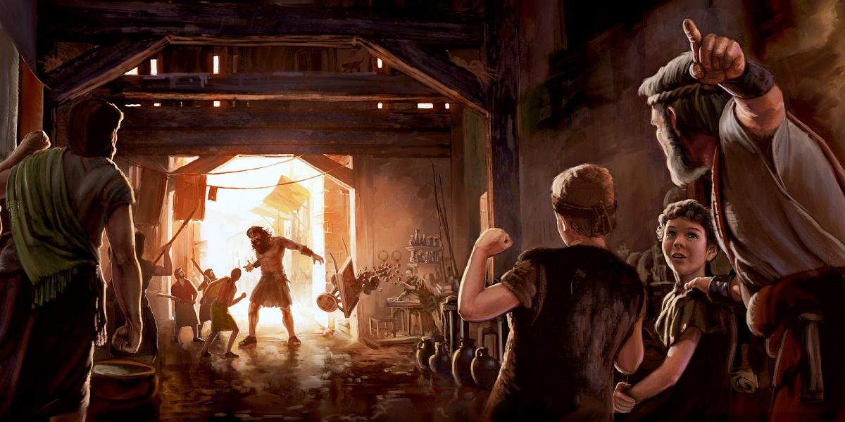 Nô-ê bảo vệ các con trai khỏi xem cảnh bạo lực do người Nê-phi-lim gây ra