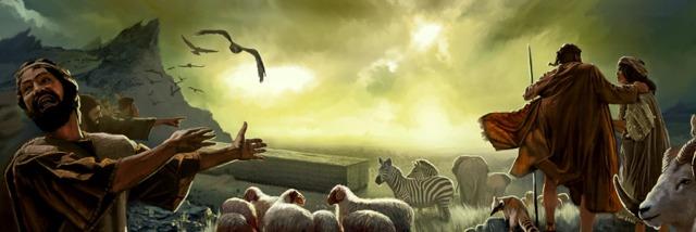 Người ta ở ngoài tàu chế giễu Nô-ê và gia đình ông