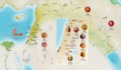 خريطة لأراضي الكتاب المقدس في زمن حنة، صموئيل، ابيجايل، ايليا، مريم ويوسف، يسوع، مرثا، وبطرس