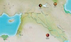 Kaart van Bybellande wat verband hou met die lewens van die getroue Abel, Noag en Abram (Abraham)