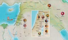 Kaart van Bybellande wat verband hou met die lewens van Hanna, Samuel, Abigail, Elia, Maria en Josef, Jesus, Marta en Petrus