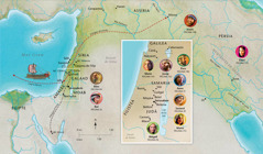 Mapa de terres bíbliques relacionades amb les vides d'Anna, Samuel, Abigail, Elies, Maria i Josep, Jesús, Marta i Pere
