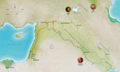 Kort over Bibelens lande der knytter sig til trofaste mænd som Abel, Noa, Abram (Abraham)