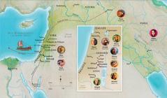 Carte des pays bibliques mentionnés dans l'histoire de Hanna, de Samuel, d'Abigaïl, d'Éliya, de Marie et Joseph, de Jésus, de Marthe et de Pierre
