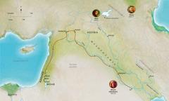 Kartta Raamatun maista, jotka liittyvät uskollisen Abelin, Nooan ja Abramin (Abraham) elämään