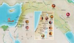 Χάρτης Βιβλικών τόπων που σχετίζονται με τη ζωή της Άννας, του Σαμουήλ, της Αβιγαίας, του Ηλία, της Μαρίας και του Ιωσήφ, του Ιησού, της Μάρθας και του Πέτρου