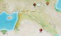 Térkép: Bibliai tájak a hűséges Ábel, Noé és Ábrám (Ábrahám) idejéből