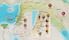 Térkép: Bibliai tájak Anna, Sámuel, Abigail, Illés, Mária és József, Jézus, Márta, valamint Péter idejéből