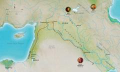 Mapa sang mga lugar sa Biblia nga may kaangtanan sa kabuhi sang matutom nga si Abel, Noe, Abram (Abraham)