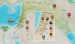 Mapa sang mga lugar sa Biblia nga may kaangtanan sa kabuhi nanday Ana, Samuel, Abigail, Elias, Maria kag Jose, Jesus, Marta, kag Pedro