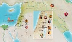 Cartina dei paesi biblici legati alla vita di Anna, Samuele, Abigail, Elia, Maria e Giuseppe, Gesù, Marta e Pietro