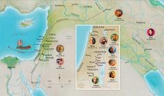 Peta negeri-negeri dalam Alkitab yang berhubungan dengan Hana, Samuel, Abigail, Elia, Maria dan Yusuf, Yesus, Marta, dan Petrus