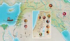 聖書中の忠実な人々と関係のある土地の地図(ハンナ,サムエル,アビガイル,エリヤ,マリアとヨセフ,イエス,マルタ,ペテロ)