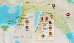 Карта біблійних земель. Місця, пов'язані з життям Анни, Самуїла, Авігаїл, Іллі, Марії та Йосипа, Ісуса, Марти і Петра