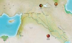 Harta ţinuturilor biblice care au avut legătură cu viaţa bărbaţilor fideli Abel, Noe şi Avram (Avraam)