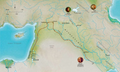 Peta bagi negeri-negeri dalam Bible yang berkaitan dengan Habel, Nuh, Abram (Abraham)