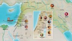 ഹന്നാ, ശമുവേൽ, അബീഗയിൽ, ഏലിയാവ്, മറിയ, യോസേഫ്, യേശു, മാർത്ത, പത്രോസ് എന്നിവരുടെ ജീവിതവുമായി ബന്ധപ്പെട്ട ബൈബിൾ നാടുകളുടെ ഭൂപടം