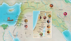 Mapa tein kinextia talmej tein ika tajtoua Biblia kampa nenkej Ana, Samuel, Abigail, Elías, María uan José, Jesús, Marta uan Pedro