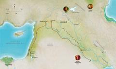 Kaart met landen die verband houden met het leven van Abel, Noach en Abram (Abraham)