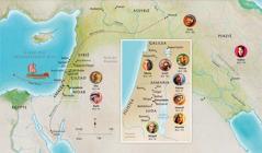 Kaart met landen die verband houden met het leven van Hanna, Samuël, Abigaïl, Elia, Maria en Jozef, Jezus, Martha en Petrus