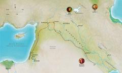 Mapa przedstawiająca krainy biblijne, wktórych żyli Abel, Noe iAbraham