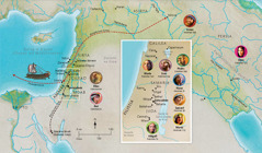 Mapa ed saray lugar ed Biblia nen panaon nen Hana, Samuel, Abigail, Elias, Maria tan Jose, Jesus, Marta, tan Pedro