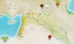 מפה של ארצות המקרא הקשורות לחייהם של הבל, נוח ואברהם הנאמנים