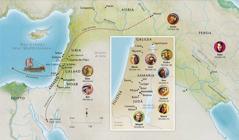 Mapa de tierras bíblicas en las que estuvieron Ana, Samuel, Abigail, Elías, María, José, Jesús, Marta y Pedro