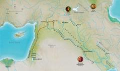 [Map]Mapa a madziko anagumanika m'Bhibhlya analonga pya umaso wakukhulupirika wa Abheli, Nowa, Abhramu (Abhrahamu)