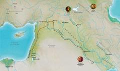 Mapa ya linaha za mwa Bibele zebulezwi mwa makande a bupilo bwa batu ba tumelo bo Abele, Nuwe, Abrame (Abrahama)