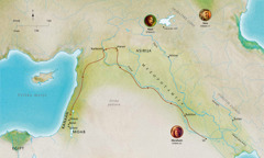 Zemljevid svetopisemskih dežel, kjer so živeli zvesti Abel, Noe in Abraham