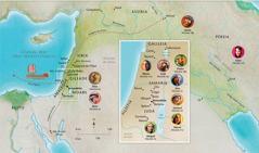 Mapa das terras onde se passaram os relatos bíblicos dos servos fiéis: Ana, Samuel, Abigail, Elias, Maria e José, Jesus, Marta, e Pedro