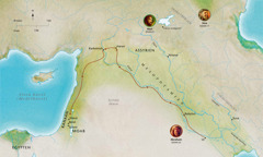 Karta över länder och platser som berörde Abel, Noa och Abraham.