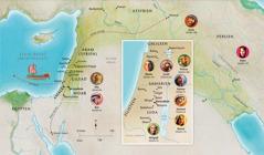 Karta över länder och platser som berörde Hanna, Samuel, Abigajil, Elia, Maria, Josef, Jesus, Marta och Petrus.