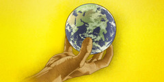 A hand holding the world, the planet earth