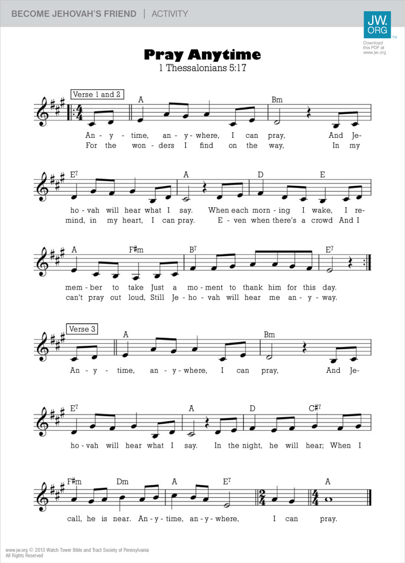 Pray Anytime Sheet Music Become Jehovahs Friend Activity