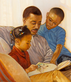 A father reading Bible stories with his son and daughter