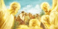 यीशु लोगों को परमेश्वर के राज के बारे में बता रहा है और स्वर्गदूत ध्यान से सुन रहे हैं