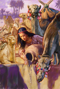 Rebekah pouring water for Eliezer's camels to drink