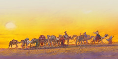 Eliezer, Rebekah, the servants, and ten camels, making the long journey to Canaan