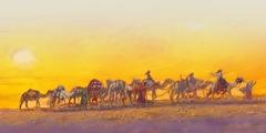 낙타 열 마리를 끌고 가나안으로 가는 먼 여행 중인 엘리에셀과 리브가, 종들