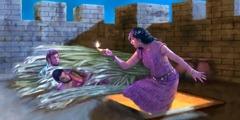 राहाब छत पर आती है जहाँ जासूस छिपे हुए हैं