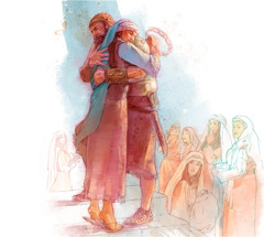 Jephthah, returning home from battle, embraces his daughter who has come out to meet him